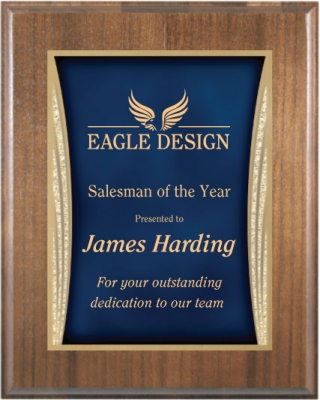Walnut Plaque With Blue Designer Plate Trophies And Awards With Expert Engraving And Imprinting